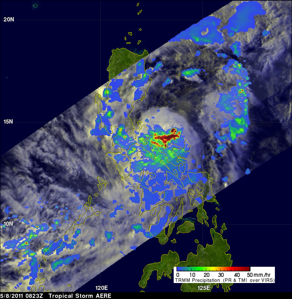 TRMM image of tropical storm over the Philippenes
