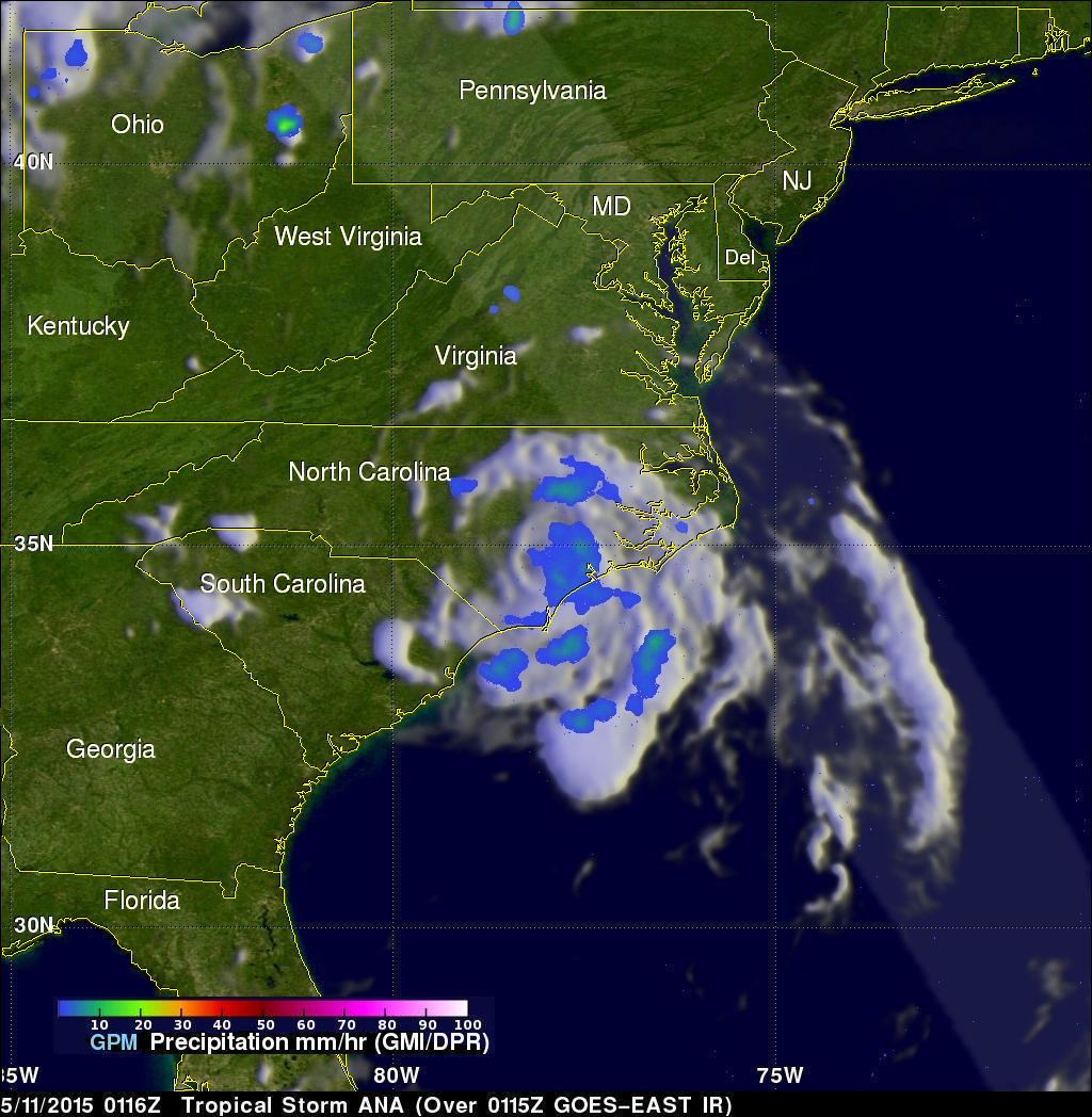 Ana Becomes First 2015 Atlantic Tropical Storm & Weakens Ashore