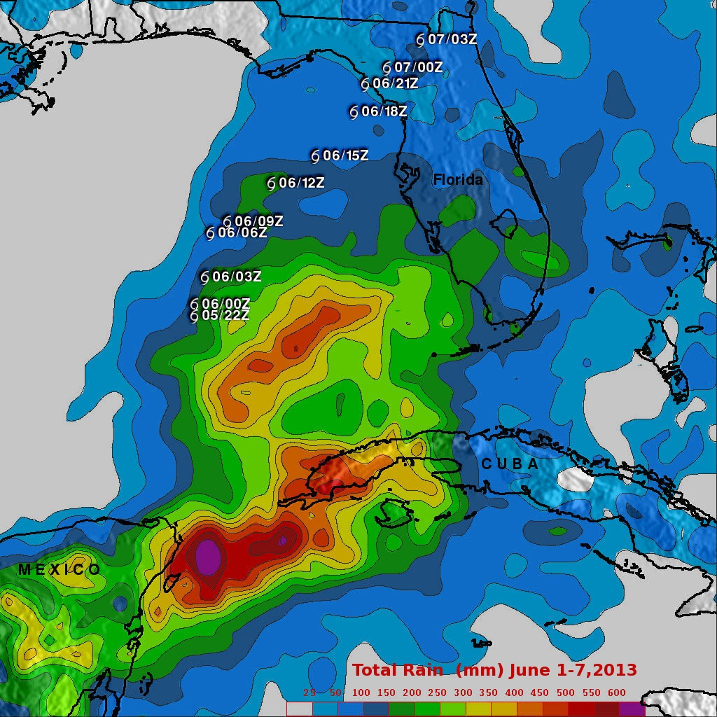 Andrea brings Heavy Rains to Cuba and parts of the US East Coast