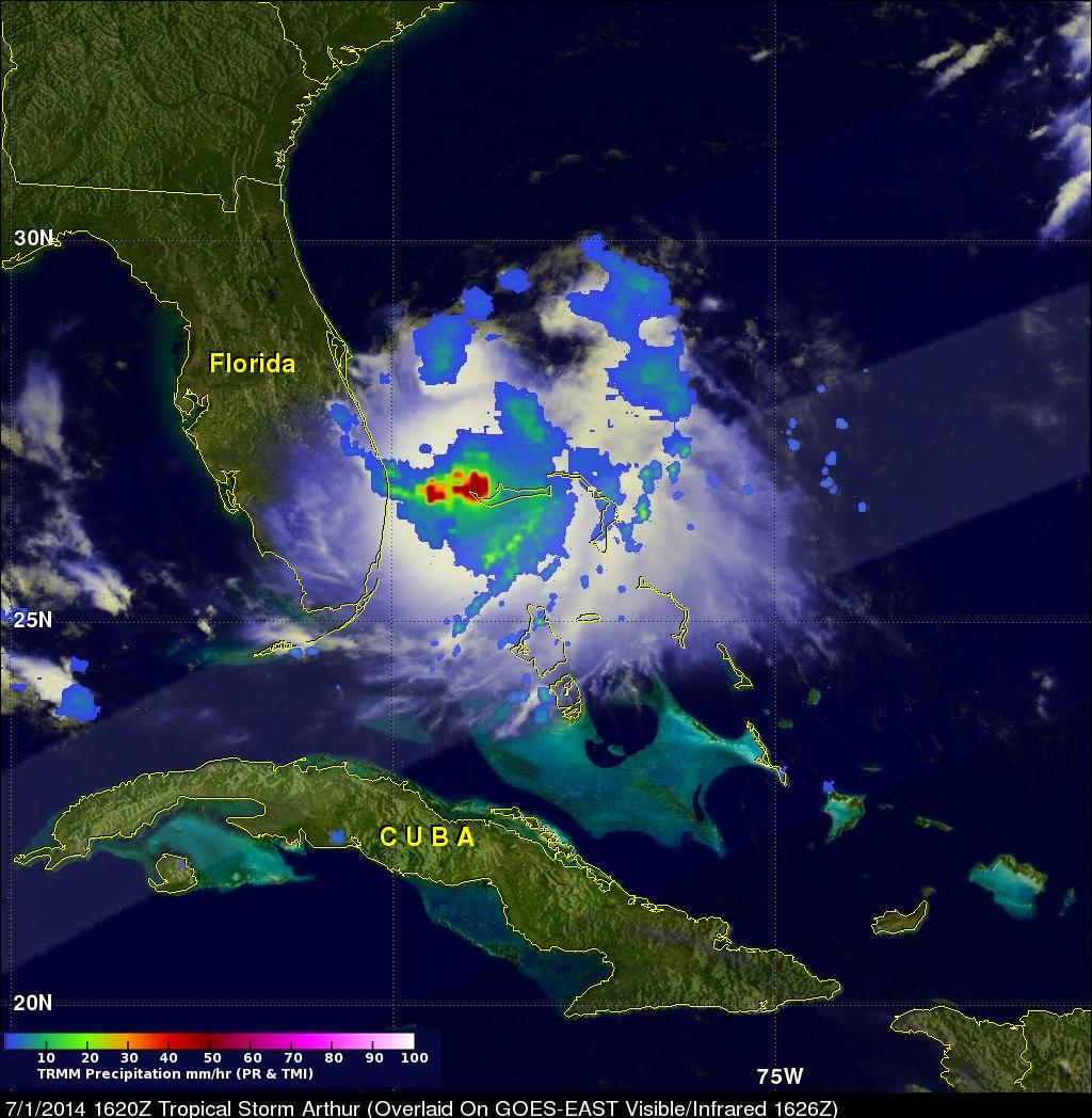 TRMM Sees New Tropical Storm Arthur