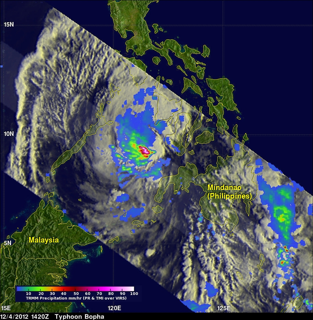 Typhoon Bopha Devastates Mindanao, Moves Into Sulu Sea