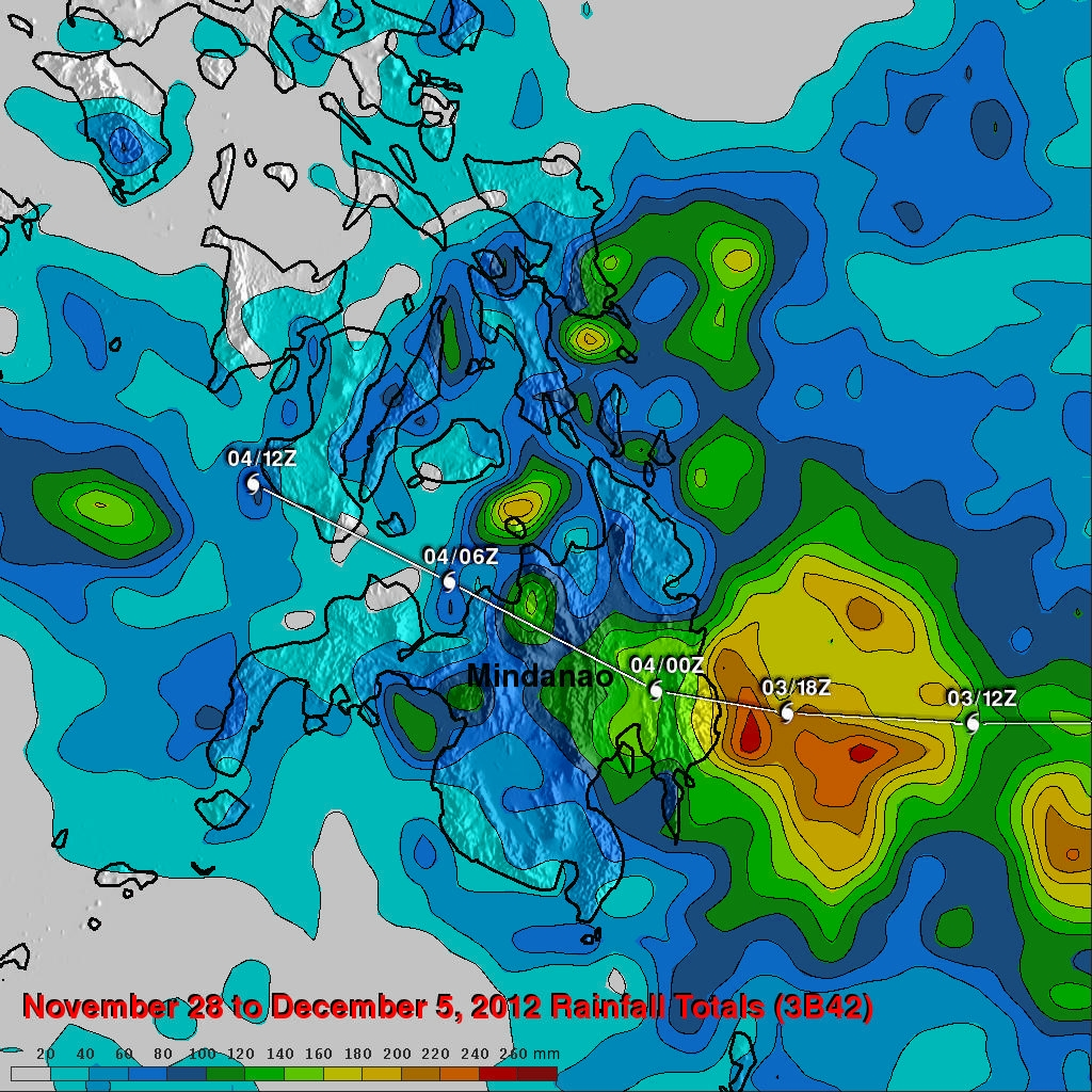 Typhoon bopha rainfall totals