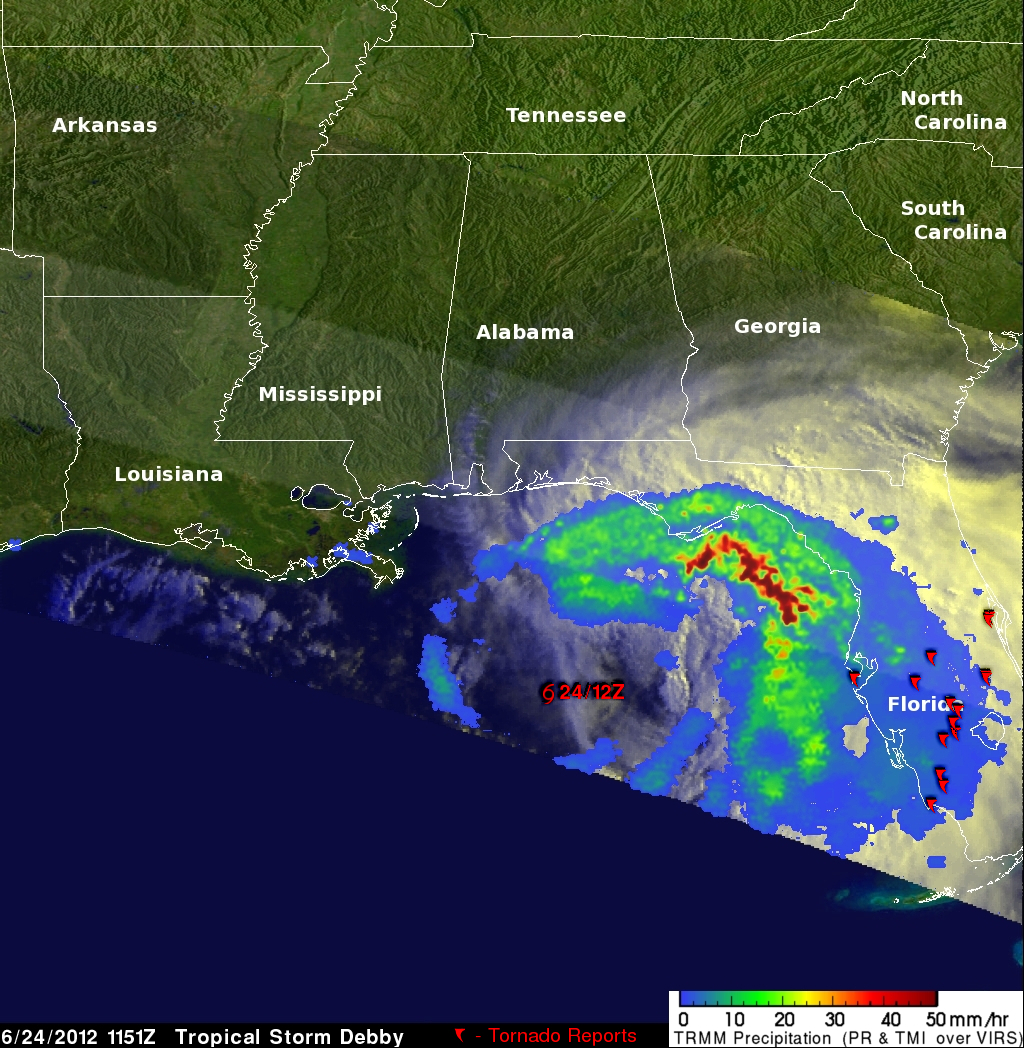 TRMM image of Debby near coast of Florida
