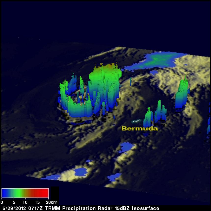 TRMM radar image of Debby
