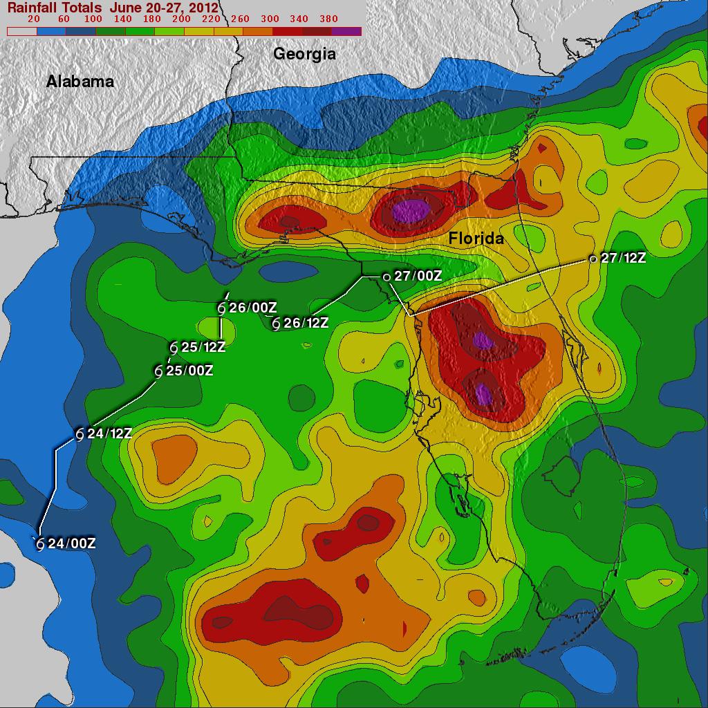 Florida Rainfall Map.Tropical Storm Debby Drenches Florida Precipitation Measurement