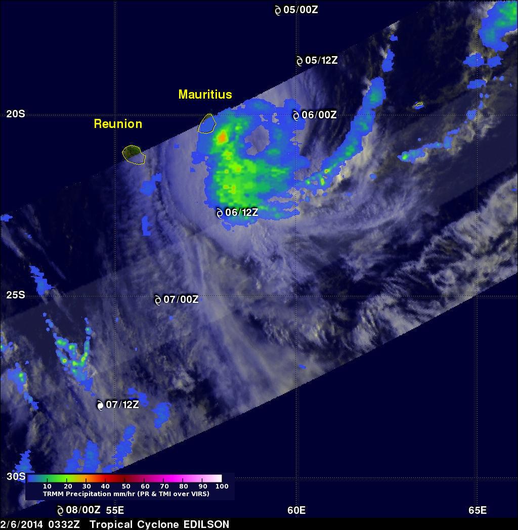 Tropical Cyclone Edilson Near Mauritius