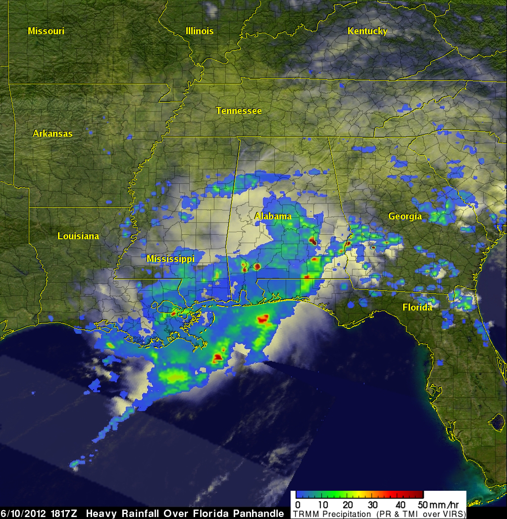 TRMM image of heavy rainfall over the U.S. South