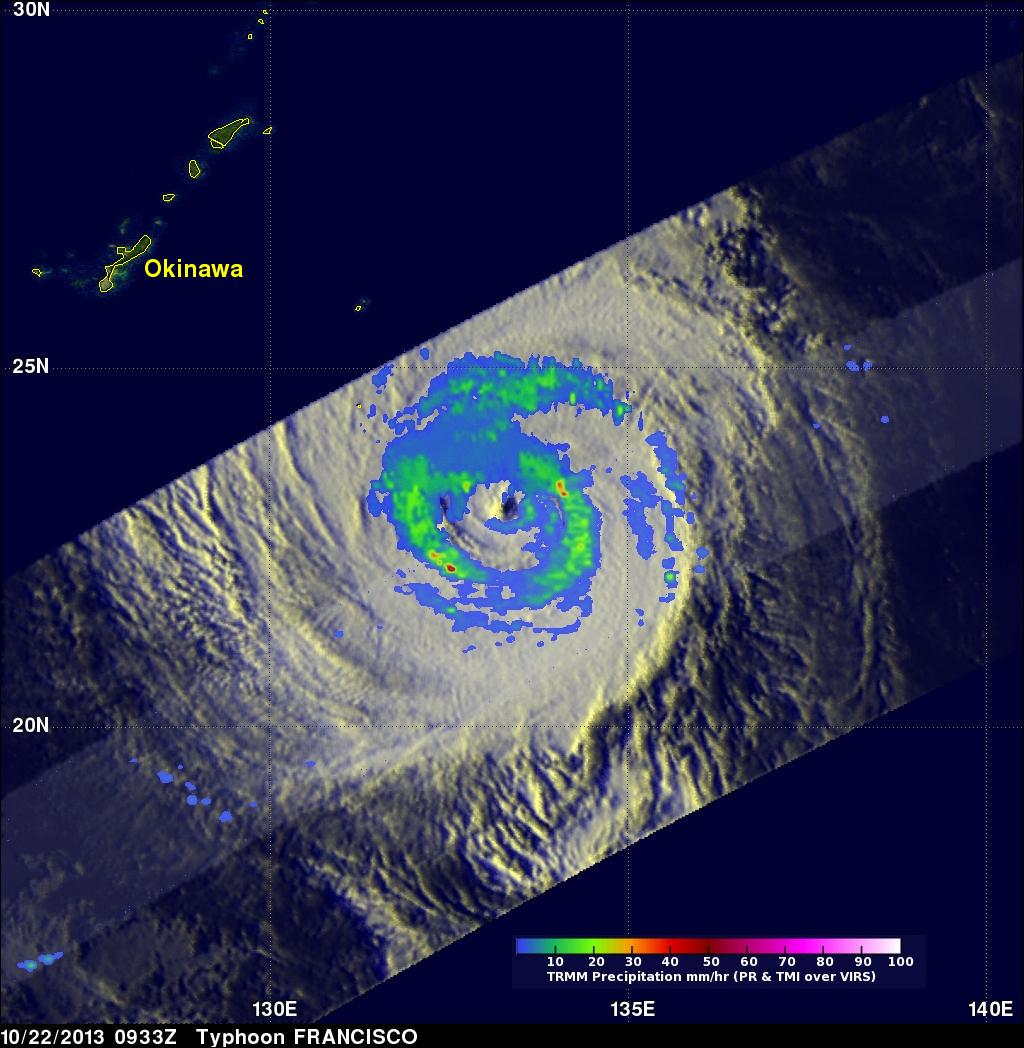 Weaker Typhoon Francisco Seen By TRMM