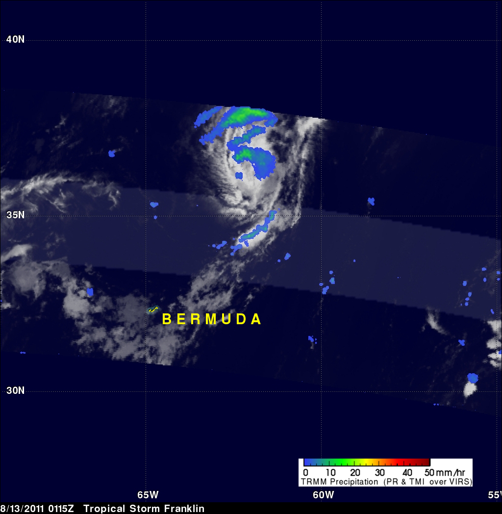 TRMM image of tropical storm Franklin near Bermuda