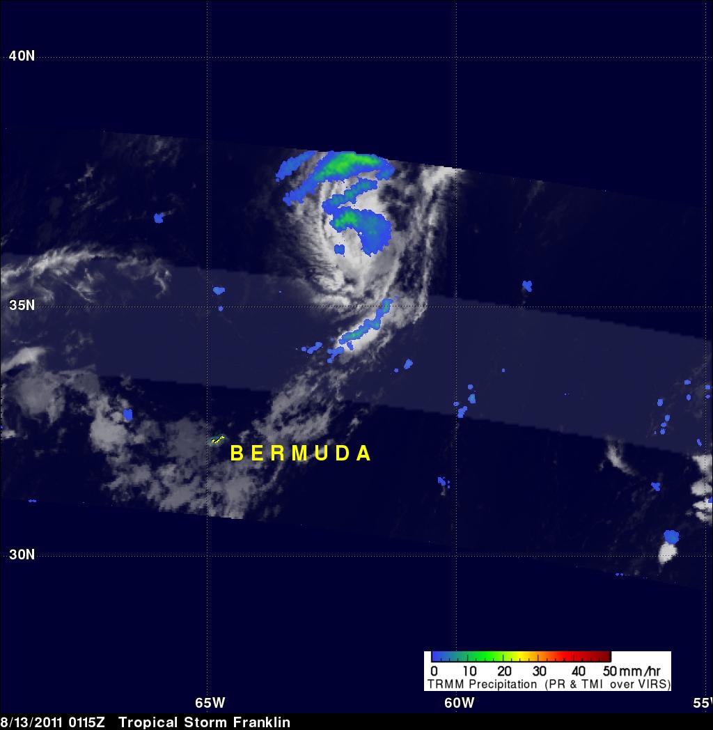 TRMM image of tropical storm Franklin near Bermuda