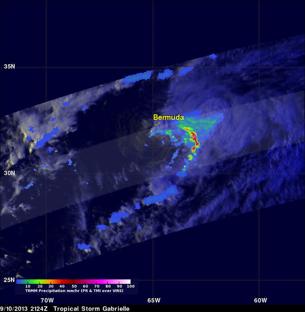 TRMM Sees Gabrielle Closing In On Bermuda