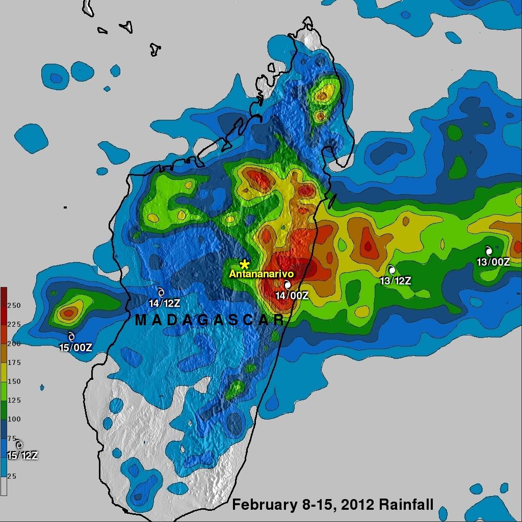 TRMM image of Giovanna flooding Madagascar