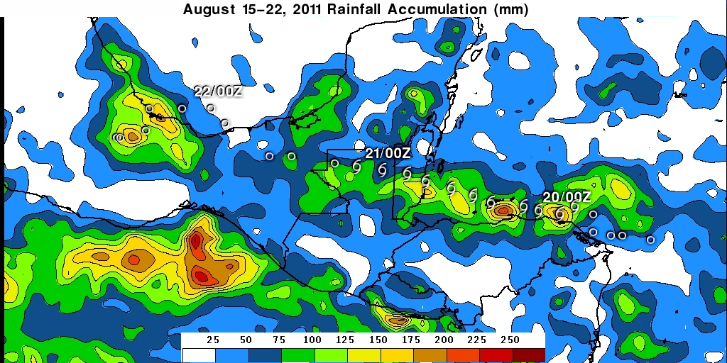 TRMM rain-map image of Harvey