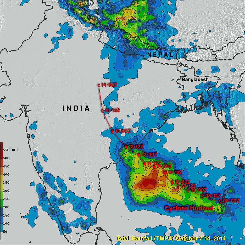 Cyclone Hudhud Makes Landfall, Brings Potential for Heavy Rains to Himalayas
