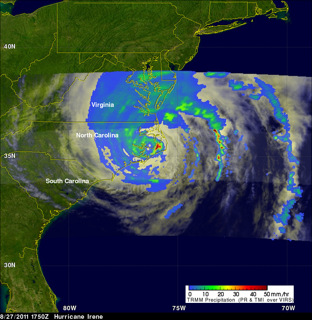 TRMM image of Irene over the Carolinas