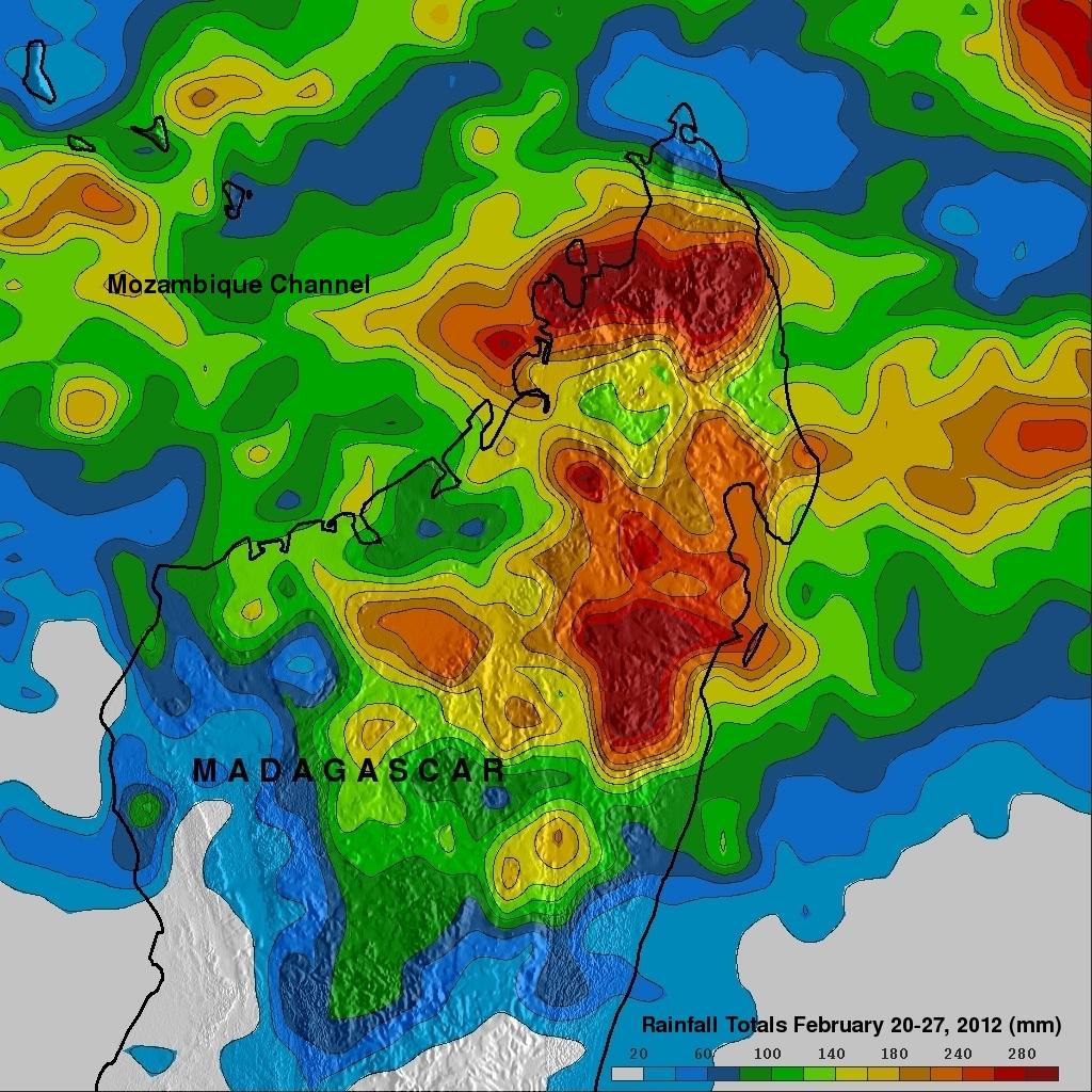 TRMM rainfall map of flooding in Madagascar