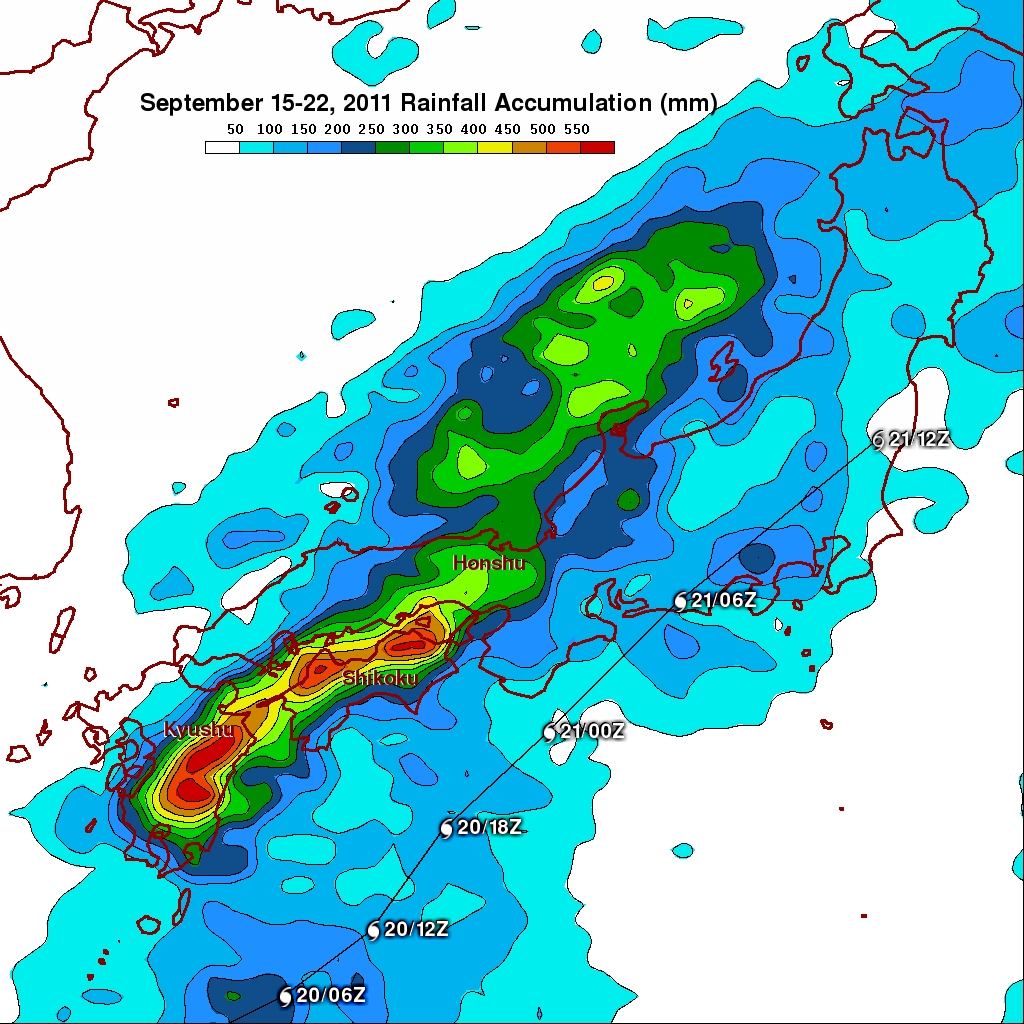 Typhoon Roke Brings Heavy Rains To Japan Precipitation - Japan map labeled
