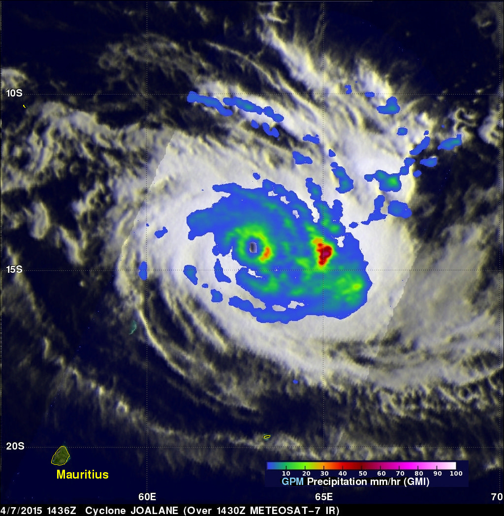 GPM Looks Into Cyclone Joalane's Eye