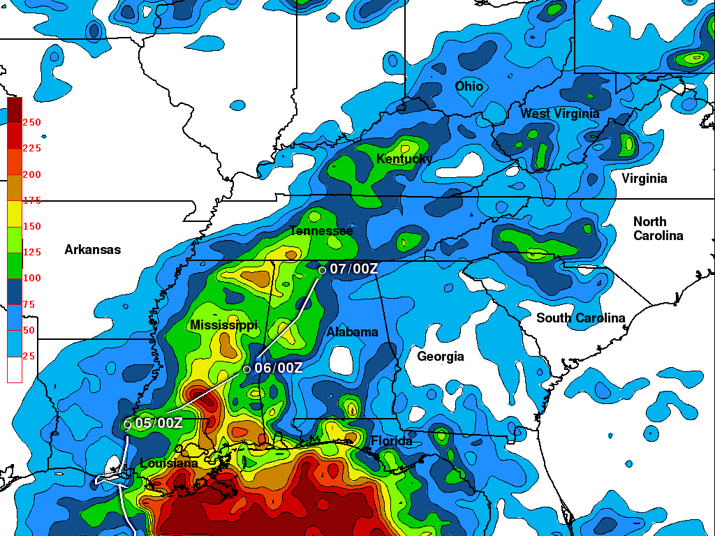 Trmm Rain Map Of Tropical Storm Lee Over The Us Midwest