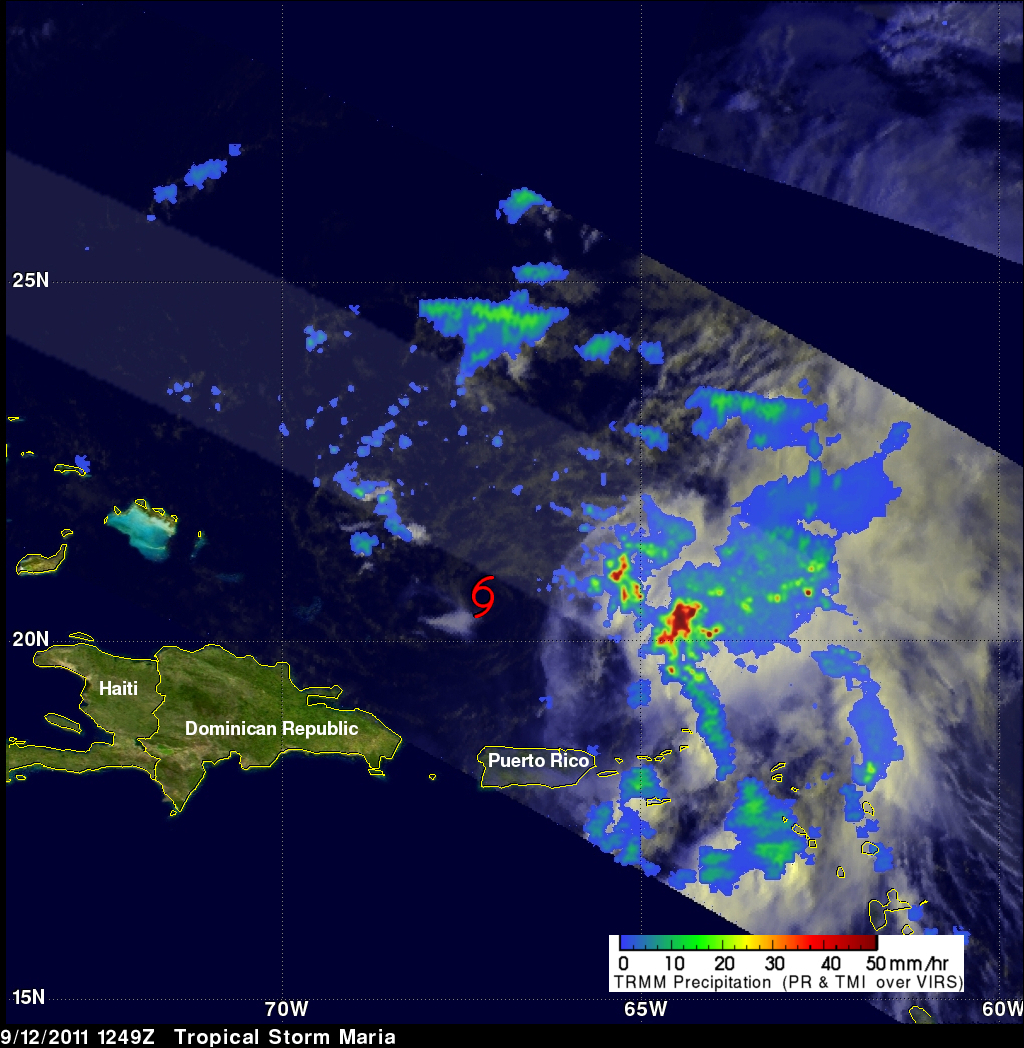 TRMM image of Maria over the Caribbean