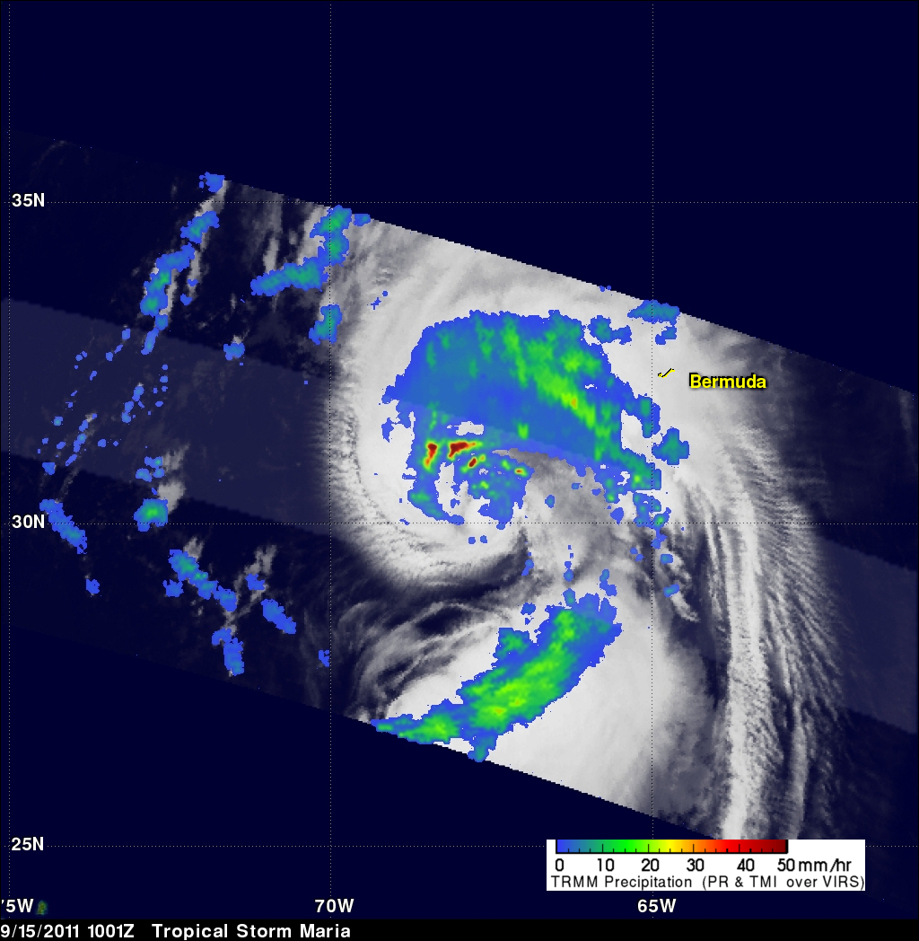 TRMM image of tropical storm Maria near the Bermudas