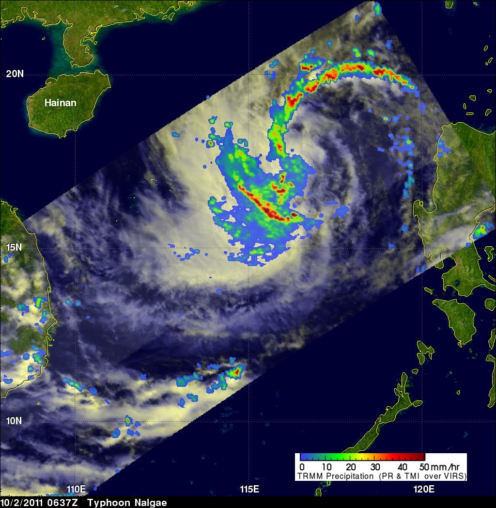 TRMM image of Nalgae heading towards China