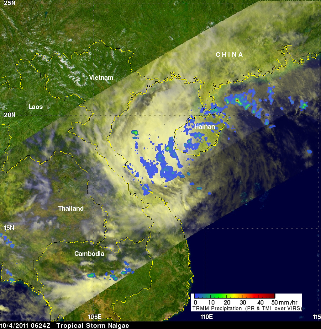 TRMM image of Nalgae weakening near China
