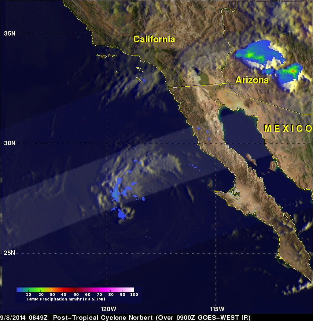 Moisture From Norbert Spreads Heavy Rain Over Southwest