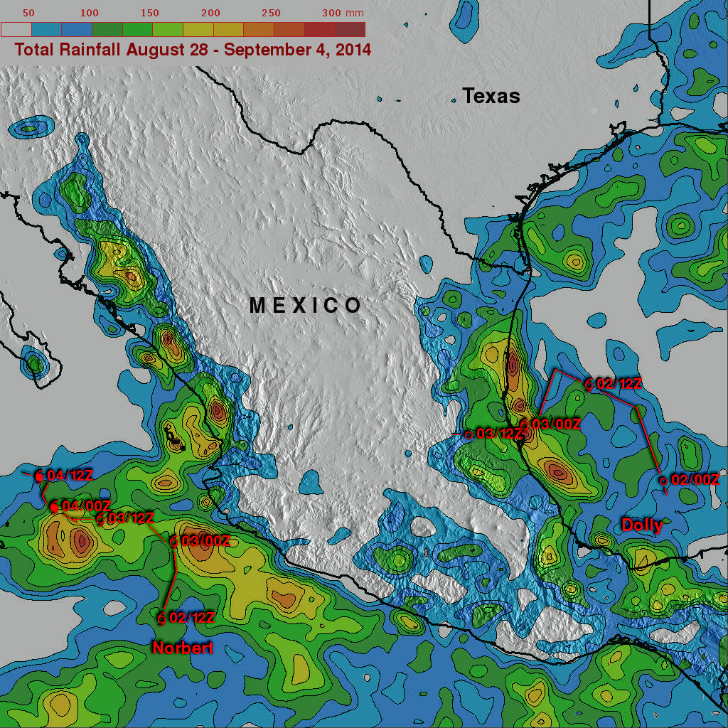 Norbert & Dolly Rain On Both Mexican Coasts