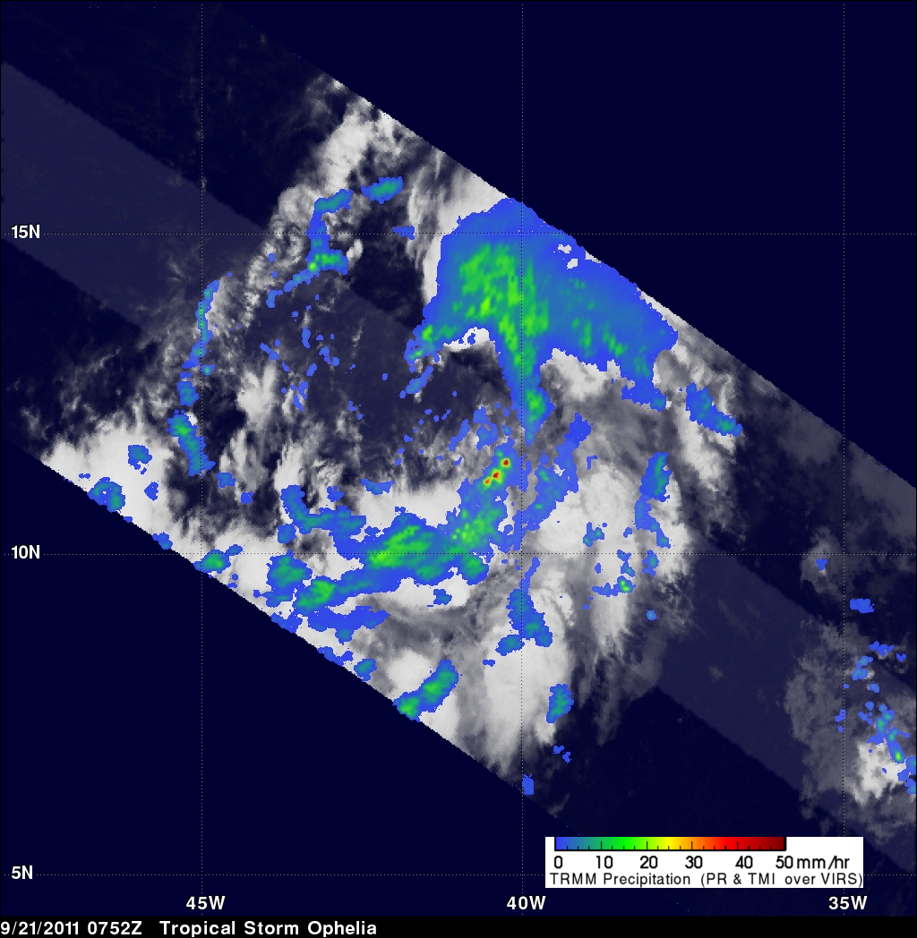 TRMM image of Tropical Storm Ophelia forming