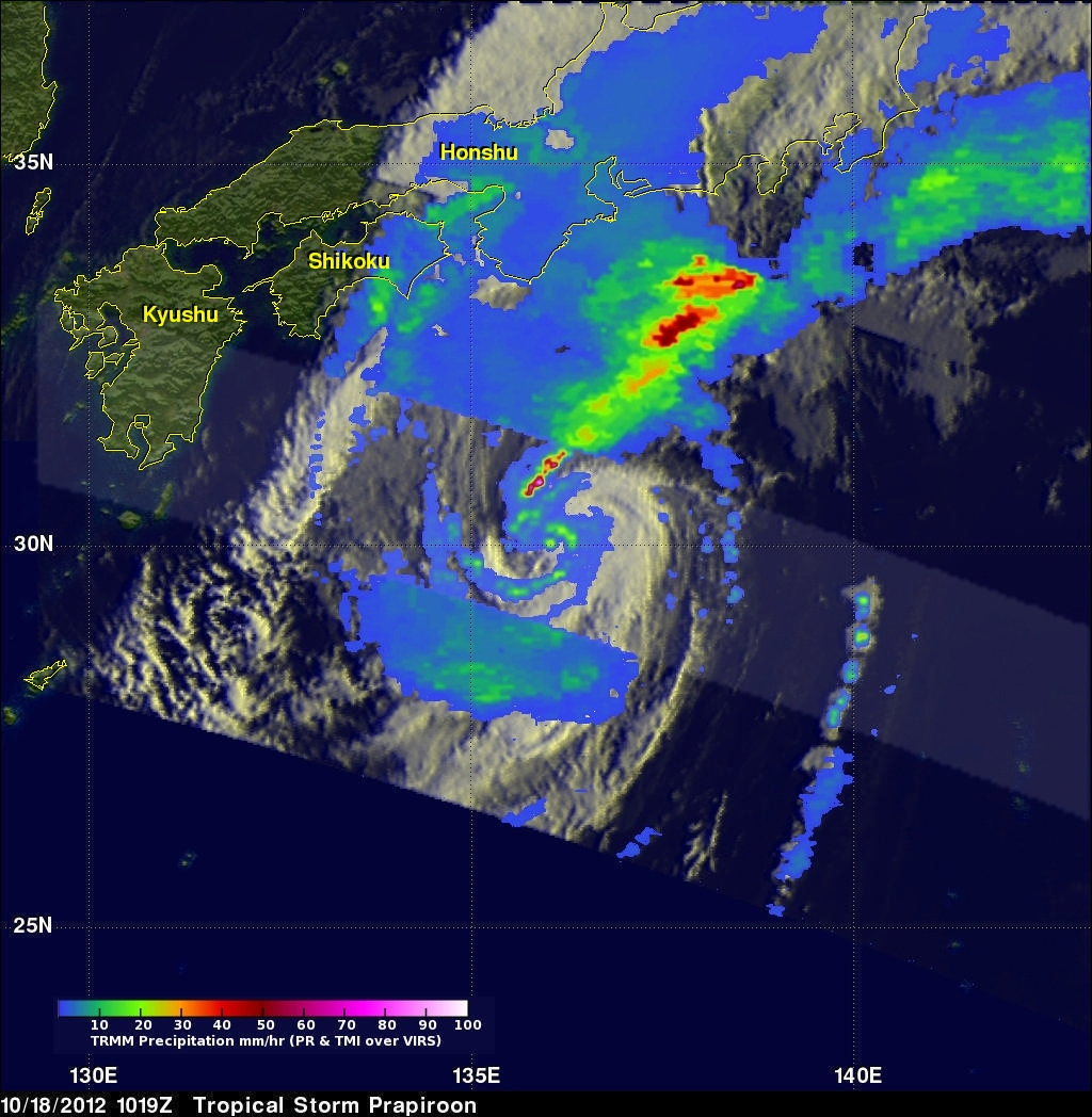 TRMM Sees Prapiroon Near Japan