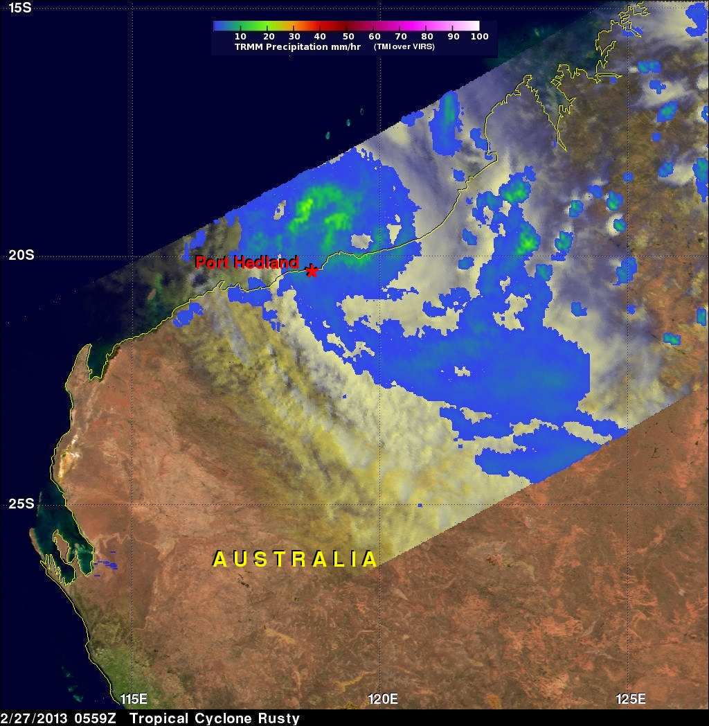Tropical Cyclone Rusty Moves Into Australia