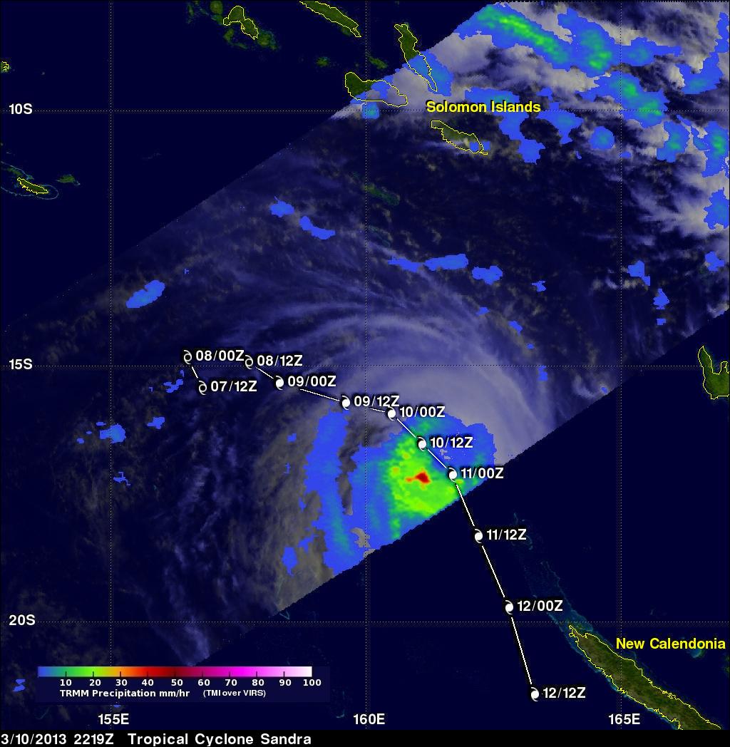Tropical Cyclone Sandra Nearing New Caledonia