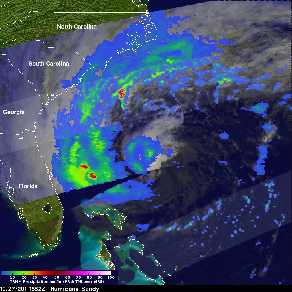 TRMM Sees Sandy As A Hurricane Again