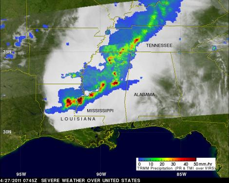 TRMM TMI image of Tornadoes and extreme weather over the southern US