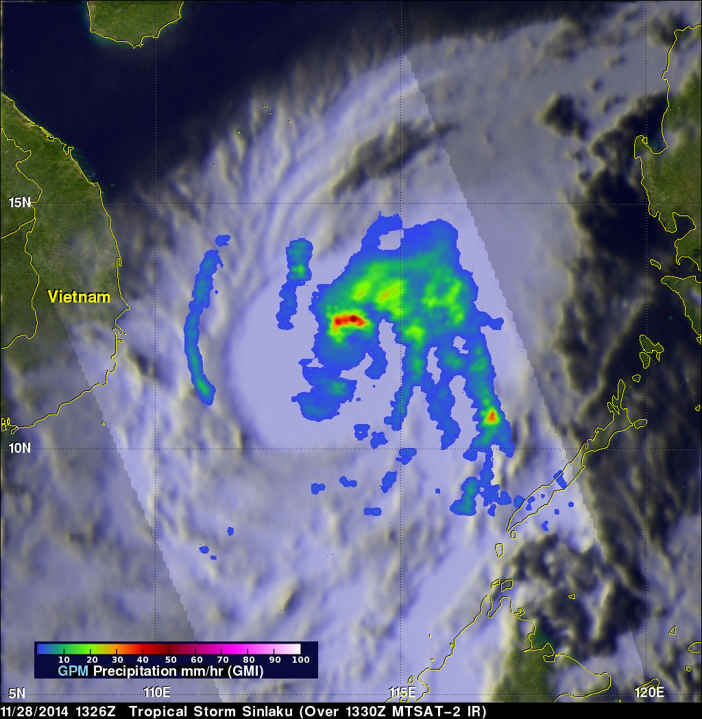 TRMM And GPM Core Satellite See Sinlaku Headed Toward Vietnam