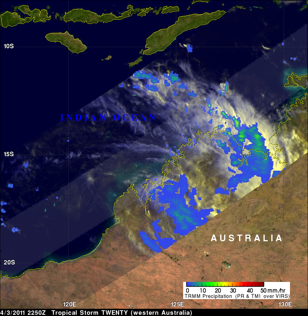 TRMM image of Western Australia Affected by Tropical Cyclone 20