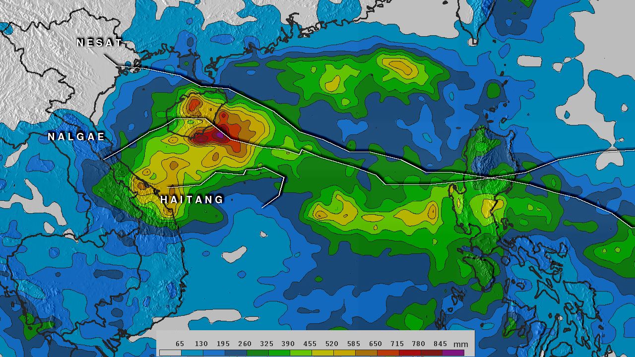 TRMM image of heavy rains and several tropical cyclones in Asia