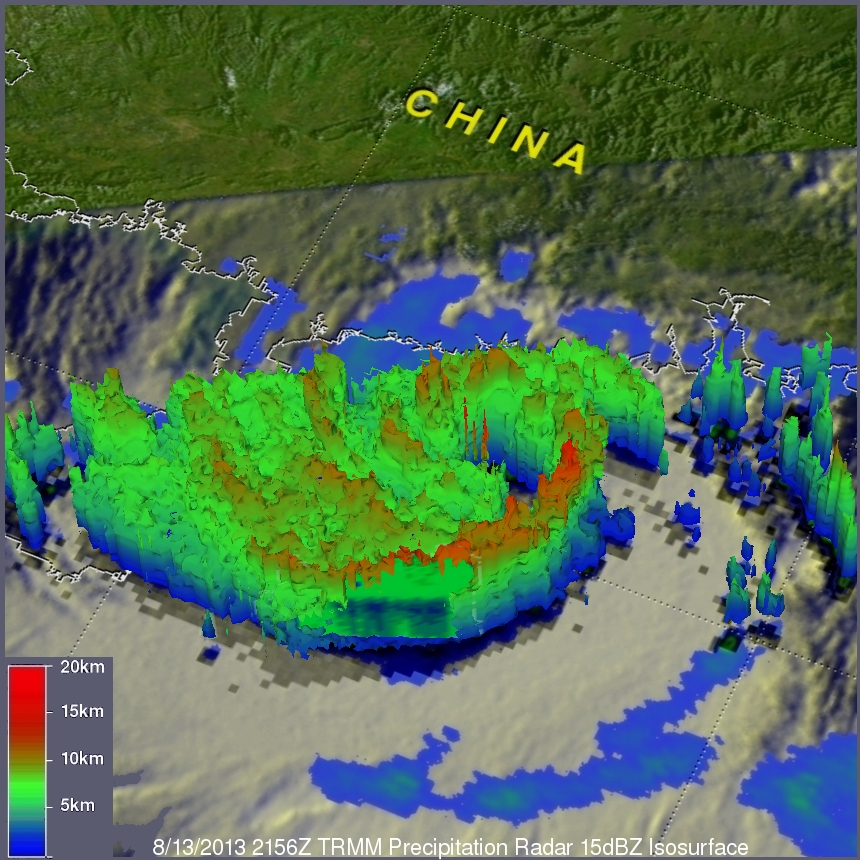 TRMM Sees Powerful Typhoon Utor As It Neared China