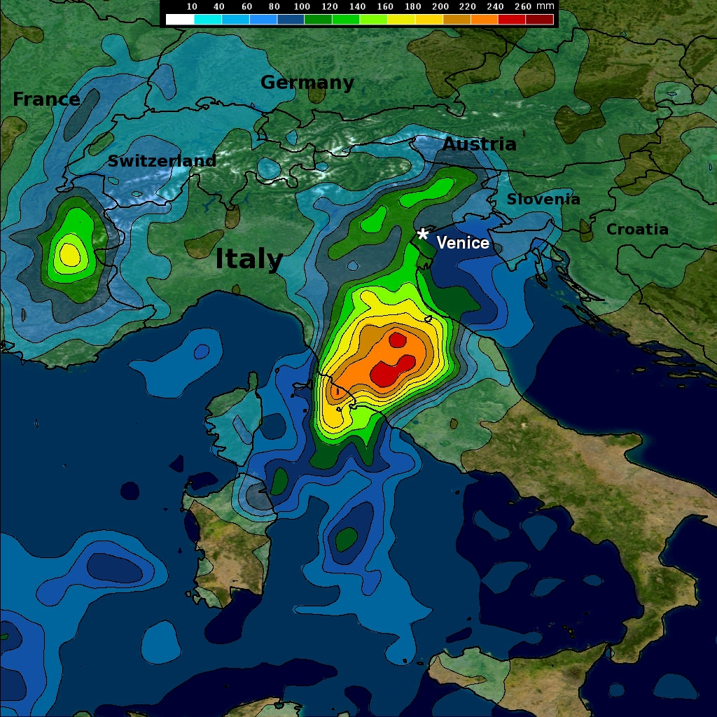 TRMM rainfall map of Italy