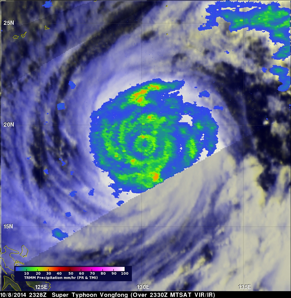 Widespread Rainfall With Super Typhoon Vongfong