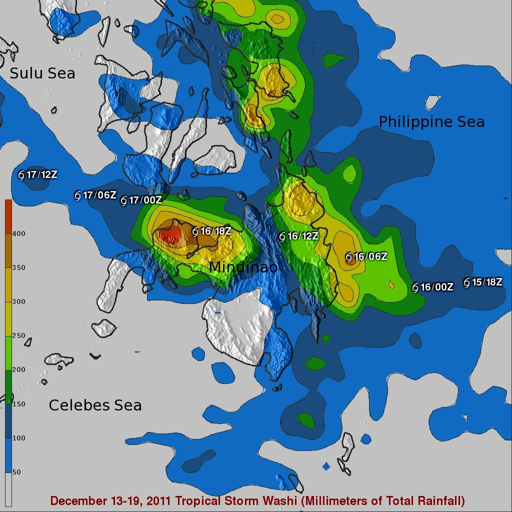 TRMM rainfall map showing heavy rain in the Phillipines from Washi