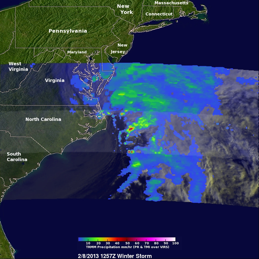 TRMM Sees Intensifying Winter Storm