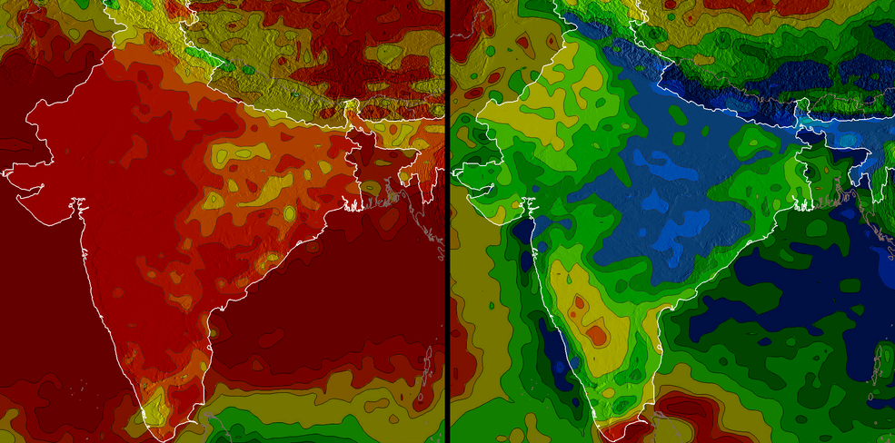 Precipitation in India varies significantly from season to season. The red in the image above indicates low rainfall, which is evident in the winter. Blue indicates high rainfall, which is abundant in the image of monsoon season. The left image shows December 2002 through March 2003, and the right image shows July 2003 through September 2003.
