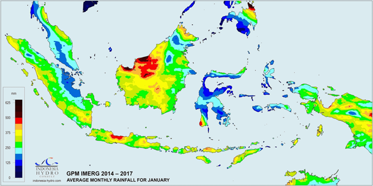 Average annual rainfall in Indonesia for January, 2014 – 2017, GPM IMERG