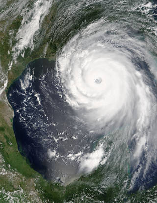 This visible image of Hurricane Katrina was taken on August 29 at 05:16 UTC (1:16 a.m. EDT) by the MODIS instrument that flies aboard NASA's Aqua satellite as it approached landfall in Louisiana. Credits: NASA Goddard MODIS Rapid Response Team