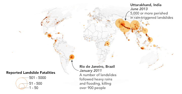 This map shows 2,085 landslides with fatalities as reported in the Global Landslide Catalog, which is currently included in the Cooperative Open Online Landslide Repository (COOLR).