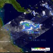 Rain intensity over the Coral Sea