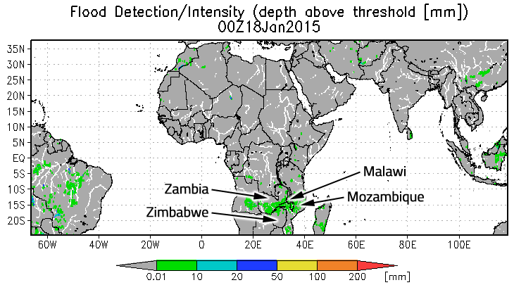 Malawi, Mozambique, Zambia and Zimbabwe flooding on Jan. 18, 2015, are shown in green on the flood map from the Global Flood Monitoring System.