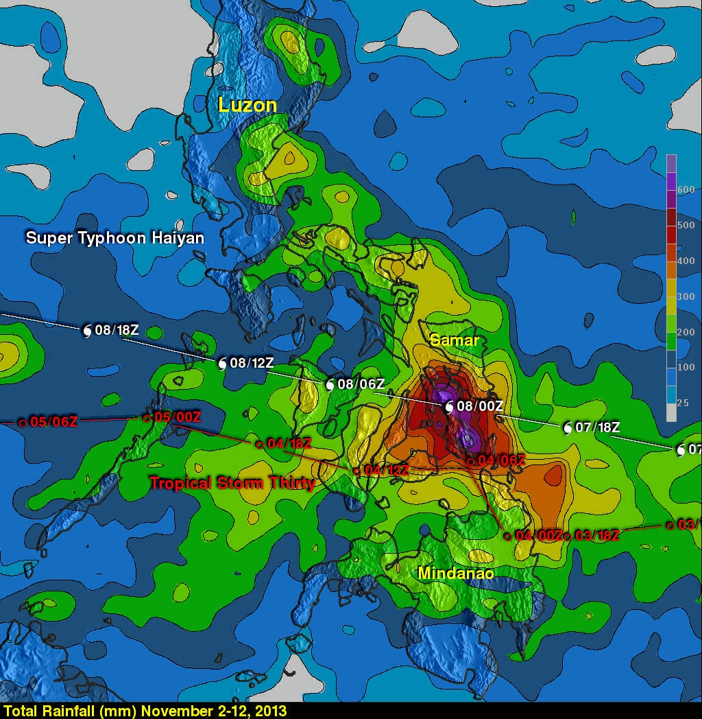 Haiyan and Tropical Storm 30 Bring Heavy Rains to the Philippines